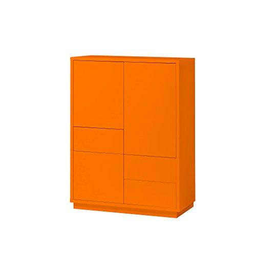 K-Möbel Highboard Anrichte Kommode Orange 3 Türen 3 Schubladen Push-to-Open 110x80x38 cm