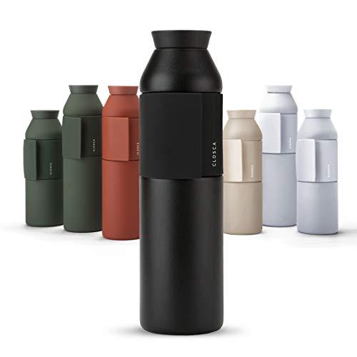 Closca Botella de Agua de Acero Inoxidable Bottle Wave. Cantimplora Termo Enganchable para niños y Adultos. Sin BPA. (Black, 600ml)
