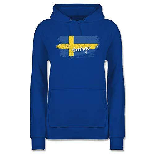 Fußball-Europameisterschaft 2021 - Schweden Vintage - XL - Royalblau - Pullover schweden Frau - JH001F - Damen Hoodie und Kapuzenpullover für Frauen