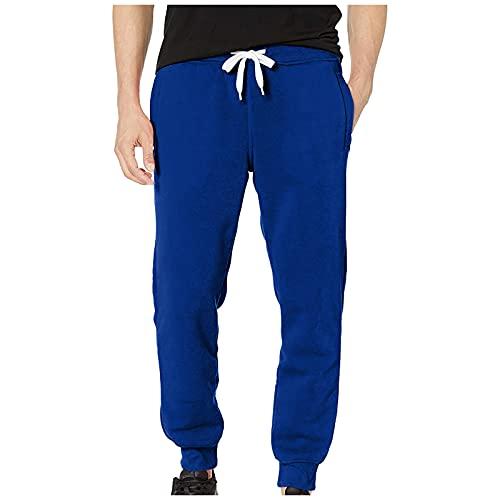 YANFANG Pantalones BáSicos para Hombre, Casual, Color SóLido, Actividades, Forro Polar, Trotar, Deportivos De Cintura, Gruesos,Hombre Casual SóLido BáSico Activo Fleece Jogger Cintura,Azul Oscuro,M