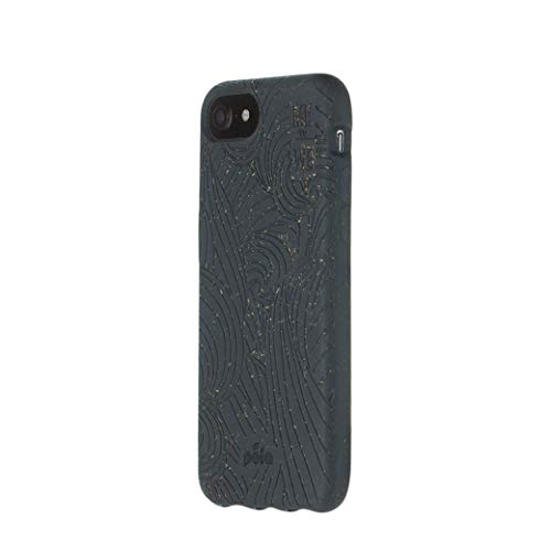 Pela: Phone Case for iPhone 6/6s/7/8/SE - 100% Compostable and Biodegradable - Eco-Friendly - Made from Plants (6/6s/7/8/SE Black Ripple)