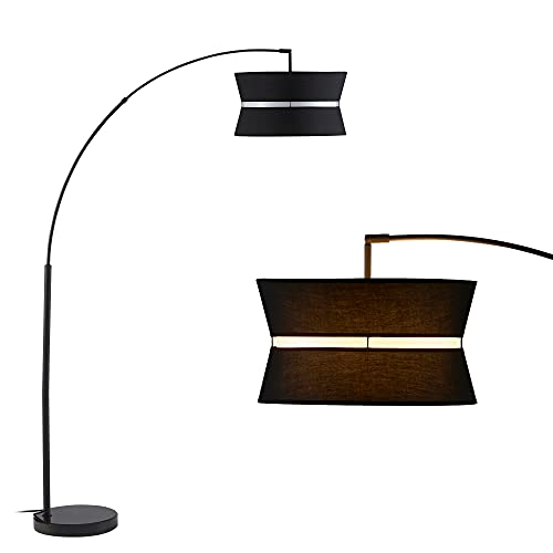 Ambiore Arc Floor Lamp with Bulb Inno - Modern Contemporary Elegant Indoor Hanging Light for Living Room Pole Lighting with Black & White Fabric Shade & Marble Stand Fit Behind Couch or Corner - Black
