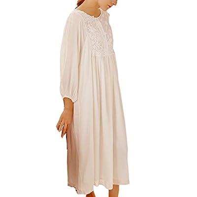 Womens' Cotton Vintage Nightgown Victorian Sleepwear Nightdress Loungewear Pyjamas