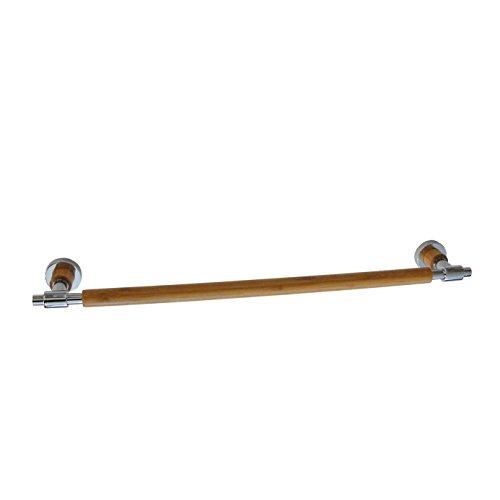 SANIMIX Handtuchhalter, Handtuchstange, Wandhalter für Handtücher aus Bambus Holz und Chrom (BxT) 60 x 10cm