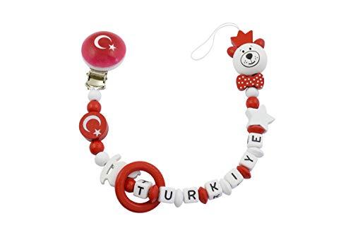 Gök-Türk Schnullerkette mit Namen Türkei, Türkische Flagge - rot (Stil 5)