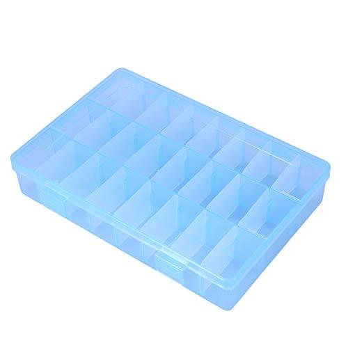 cloudbox Hermoso contenedor de almacenamiento de plástico 24 rejillas joyería de plástico caja ajustable desmontable organizador cuentas pendientes caja de almacenamiento (azul)