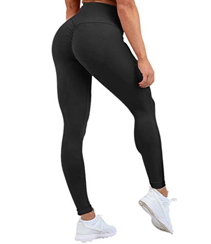 DUROFIT Scrunch Butt Sportleggings Po Push up leggings mit Handytasche Booty Leggings Fitness Hose Yogahose Lifting Sport Tights Yoga Pants Laufhose Hohe Taille Sportstrumpfhosen Workout Schwarz S