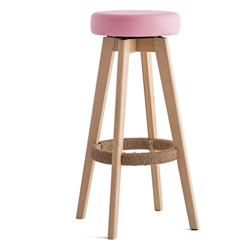 ZHJBD Meubelkruk/Houten Ronde Stoel Hoge Kruk Ontbijtkruk Barkruk voor Keuken Thuis & Commercieel Draaibaar Creatief Beknopte Stijl Roze