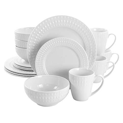 Elama Service for Four 16 Piece Porcelain Dinnerware Set, White-Round 2