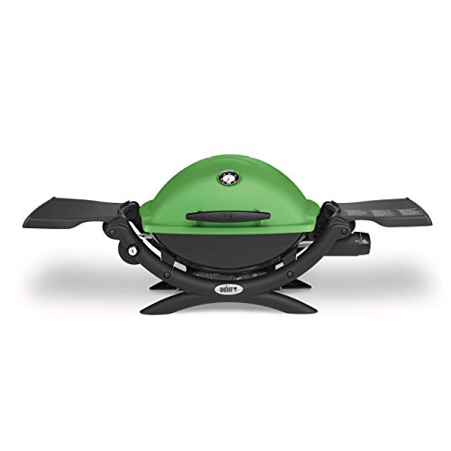 Weber Q 1200 Gasgrill, Weber Gasgrill Q 1200 Green mit elektrischer Zündung und Seitentischen, Grillfläche 43x32 cm, Weber Gasgrill Q 1200