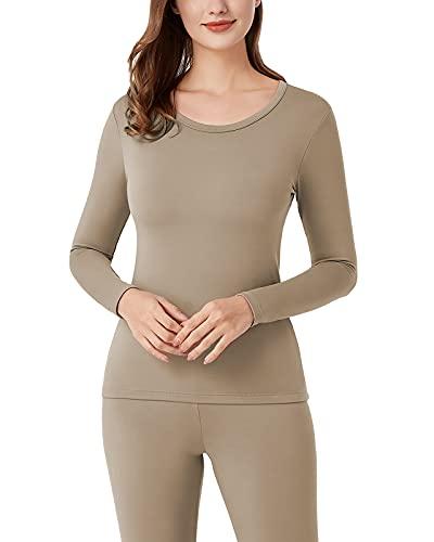 LAPASA Camiseta Térmica para Mujer, Ropa Térmica Ligera/Espesa, Camiseta Interior Invierno Brushed Back Fabric Technique L15/L42 (L15: Barbecho (LIGERA-160g/㎡), M)