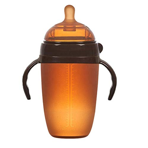 Papabear Baby Soft Silicone Bottle 250ml 取り外し可能なハンドル の柔らかいシリコーン赤ちゃんボトル 哺乳びん 広口タイプ (Amber)