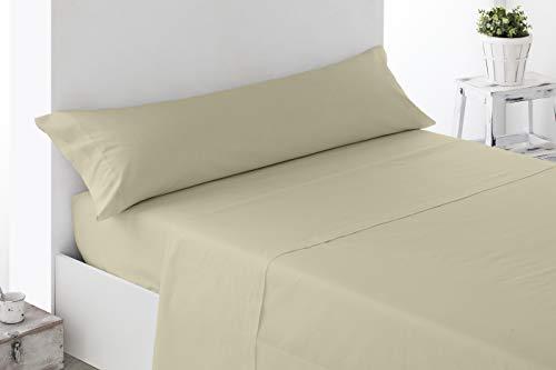 Cabetex Home - Juego de sábanas Lisas - 3 Piezas - Microfibra Transpirable - Mod. Unicolors (Beige, 150_x_190/200 cm)