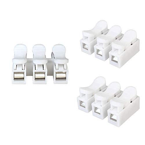 Aiqeer 40 Pezzi CH3 Connettore Molla Rapido, Morsetto a Molla Connettore, Morsettiera Molla Rapido, Collegamento per Cablaggio Elettrico e Alimentazione Illuminazione (Bianco)