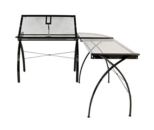 Studio Designs Futura LS WorkCenter with Tilt Top Adjustable Drafting Table Craft Table Drawing Desk Hobby Table Writing Desk Studio Desk, Black / Clear Glass