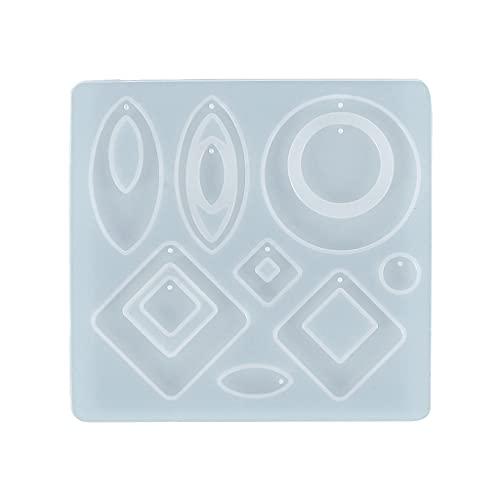 JIUYECAO Pendiente colgante joyería molde, DIY cristal epoxi molde pendiente joyería colgante decoración rombo espejo irregular molde silicona