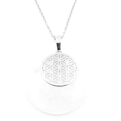 ARITZI - Colgante de Piedra Natural - Cuarzo Blanco con símbolo esotérico en bisutería de Metal - Simbolo de Flor DE LA Vida - Cadena incluida de Acero Inoxidable (50cm)