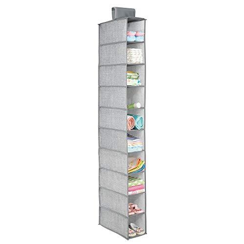 mDesign organiseur d'armoire de bébé – étagère de rangement pratique à suspendre pour la chambre d'enfant – avec 10 compartiments pour vêtements, serviettes de bain, couches, chaussures – gris
