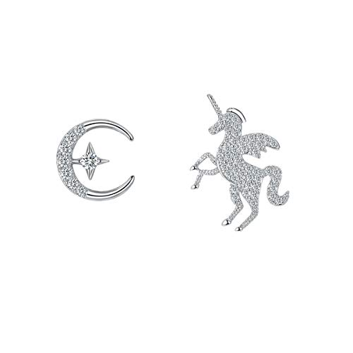 Unicorn Silver Earrings for Girls, 925 Sterling Silver Earrings, Unicorn Earrings Fashion Earrings for Teen Girls, Birthday Gifts for Her, Children's Day Gifts, Mother and Daughter Gifts