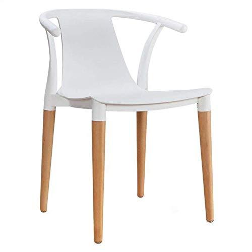 HELIn Moderne minimalistische kunststof massief hout fauteuil eetkamerstoel Chinese klassieke vrije tijd stoel bureaustoel balkon stoel computer stoel Kleur: wit