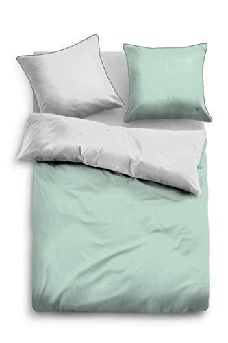 TOM TAILOR Uni Wendebettwäsche grün Kissenbezug einzeln 80x80 cm