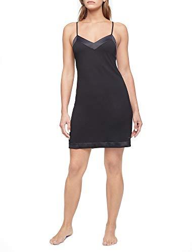Calvin Klein Damen Modal Satin Lounge & Sleep Chemise Nachthemd, schwarz, Small