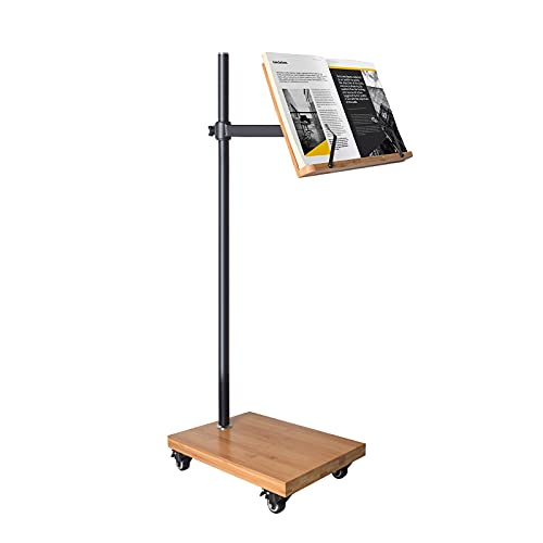 Floor Stand for Book Reading - wishacc Height Adjustable Bamboo Book Stand Holder Extra Large Sturdy Rolling Lectern Stand with Wheels