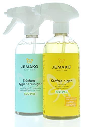 Jemako Küchen-Set | Kraftreiniger ECO Plus 500 ml | Küchen-Reiniger ECO Plus 500 ml | inkl. Sinland Microfasertuch & 2 x Schaumpumpe