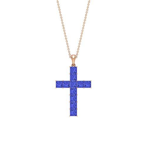 Colgante de cruz de tanzanita de 2,4 quilates, 4 x 4 mm, collar apilable de oro (calidad AAA) azul