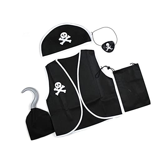 Generic Traje Do Pirata E Acessórios para 80-130Cm Crianças Vestido de Pirata- Up Set Chapéu de Pirata Colete de Pirata Remendo Do Olho Gancho Gancho de Cosplay Adereços Kit Com Saco De