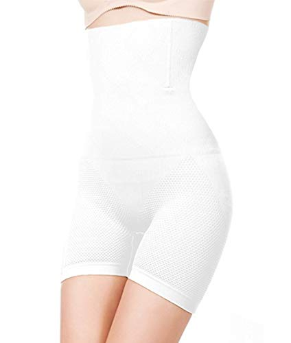 ShaperQueen 102E Best Womens Waist Cincher Body Shaper Trimmer Trainer Slimmer Girdle Faja Bodysuit Short Thong Tummy Belly Control Brief Corset Plus Size High-Waist Shapewear Shorts (XL, White)