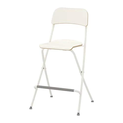 Ikea Franklin - Taburete con Respaldo Plegable, Blanco, Plata Color