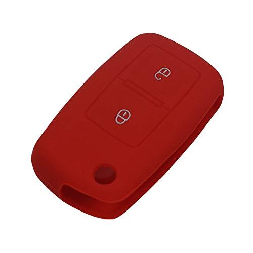Happyit Silicona Caso de la Cubierta de la Llave del Coche para VW Volkswagen Amarok Polo Golf 4 5 6 MK4 Bora Jetta 2 Botones (Rojo)