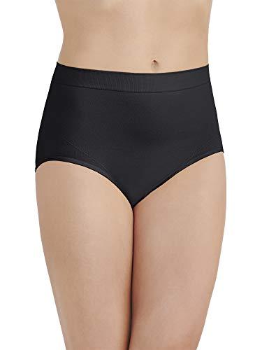 Vanity Fair Women's Smoothing Comfort Brief Panties with Rear Lift, Seamless - Black, 9