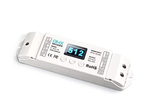 LTech LT-820-5A 4 Channel CV DMX RDM Digital PWM Decoder 8/16 bit dimming for RGB & RGBW LED Lighting 5-24V DC Driver Controller 4x5A Dimmer OLED Display