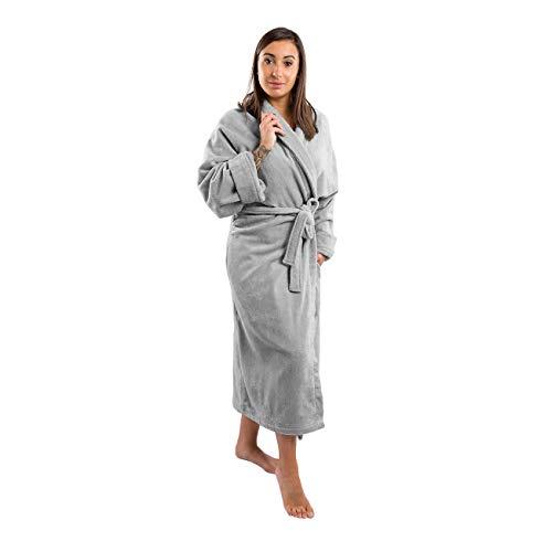 Clarysse Bademantel Damen Frottee Bio Baumwolle, Morgenmantel für Damen und Herren mit Schalkragen aus feinster Velours Hotelqualität, Größe XS-S, grau