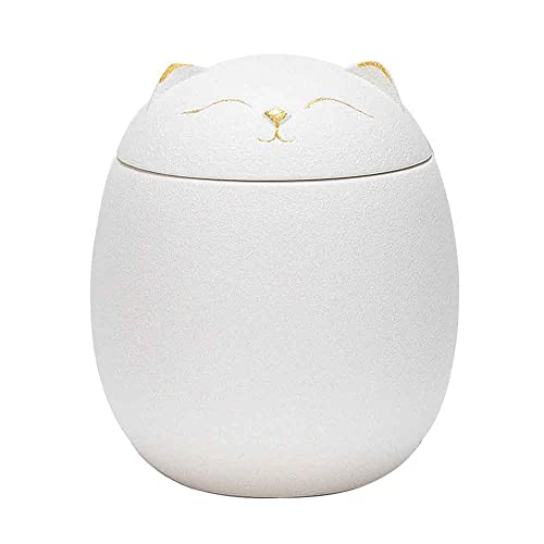 YQWYS Cenicero de Tetera de cerámica de Gato Afortunado, Mini cenicero, Tanque de Aire de Gatito Creativo, Tetera de Recuerdos de Negocios domésticos,White