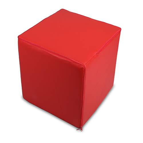 Bepouf Puf Cubo Poltrona Pouf Ecopelle Sgabello Pieno Duro 40X40X40 cm (Rosso)