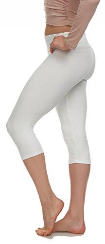 Extra Soft Capri Leggings with High Yoga Wast - 20 Colors - Plus (Plus Size (XL - 3XL), White)