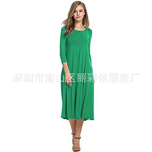 Xi-Link Europeo Y Americano Otoño Nuevo Modelo De Explosión Transfronteriza Cuello Redondo Color Sólido Color Grande Posando Vestido (Color : Green, Size : S)