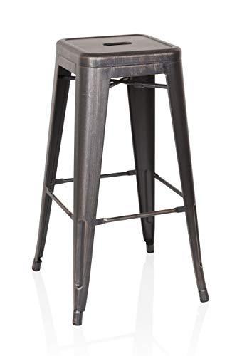 hjh OFFICE 645035 barkruk VANTAGGIO HIGH metallic zwart / goud bistro kruk van robuust staal stapelbaar rubber vloerdoppen