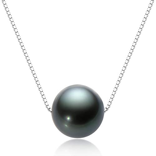 Floating Pearl Necklace Tahitian Black Pearl Necklaces Genuine Cultured Pearl Pendant with Silver Chain Jewelry Gifts for Women 10-11mm