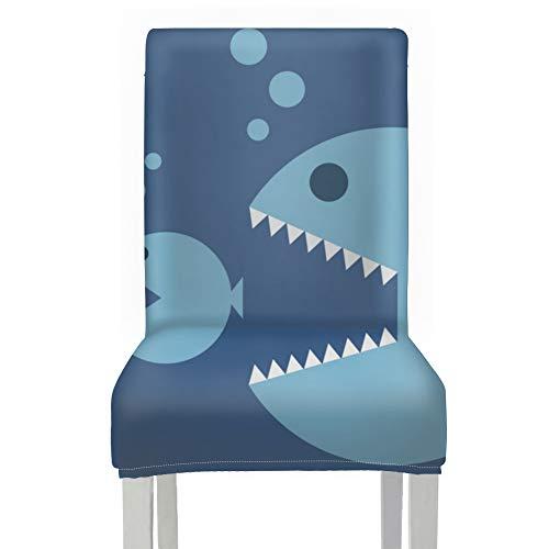 Coprisedili stampati per sedie da pranzo Big Fish Eat Small Fish Chair Coprisedili per sala da pranzo Poliestere Stretch Rimovibile Lavabile Decorativo Fodere per sedie per sala da pranzo Per la casa
