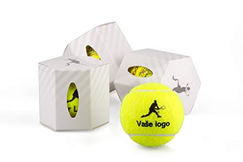Werbung Tennisball mit Kundenlogo | Personalisiertes Logo Tennisball, 12 Bälle | Ball für Marketingagenturen, Firmenveranstaltungen, Hobbygruppen, Firmenpräsentationen