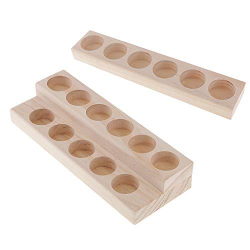 non-brand 2 Pcs Aceite Esencial Estante Almacenamiento de Madera para Botellas Vacias para Guardar Aceite Maquillaje