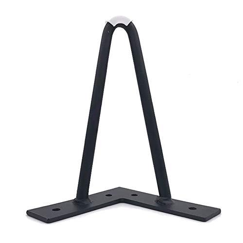 Pata de mesa x1,Patas de muebles de hierro, pies de repuesto para muebles en forma de U, fuerte capacidad de carga, con cojín de goma, adecuado para la mesa del sofá cama/Negro / 17cm