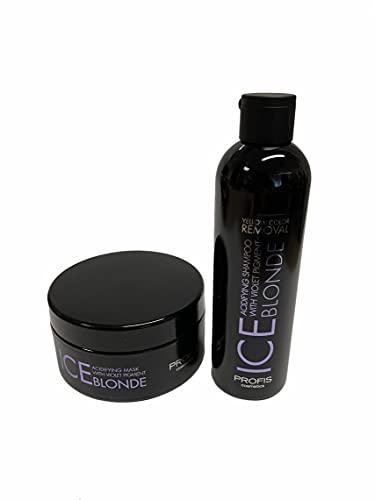 Ice Blond Juego de cuidado del cabello con ácido antiamarilleo, compuesto por 1 mascarilla de 300 ml y 1 champú de 250 ml.