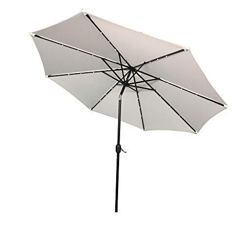 LZQ Sonnenschirm mit LED, Ø 300 cm, Marktschirm mit Kurbel, UV-Schutz UPF 40+, Gartenschirm, Terrassenschirm, Sonnenschutz, ohne Ständer, Outdoor, für Garten, Balkon, Terrasse, Beige