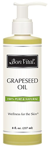 Bon Vital' Grapeseed Oil, 100% Pure Skin Toner and Massage Oil, Used for Hair Care, Aromatherapy, and Massage, Helps Reduce Wrinkles and Prevents Premature Aging, Skin Moisturizer, 8 Ounce Bottle