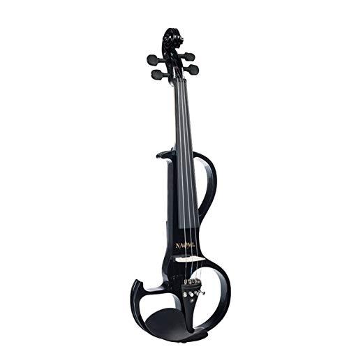 THQC Violine volle größe 4/4 massivholz elektrische Violin Basswood Body ugony Fingerboard stifte mit Ebenholz fisheye zubehör schwarz (Farbe : Schwarz)